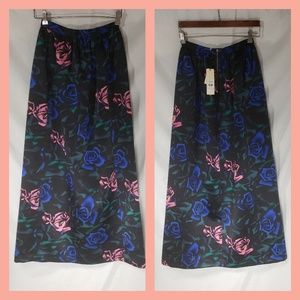 New Topshop Womens Maxi Skirt Roses 4